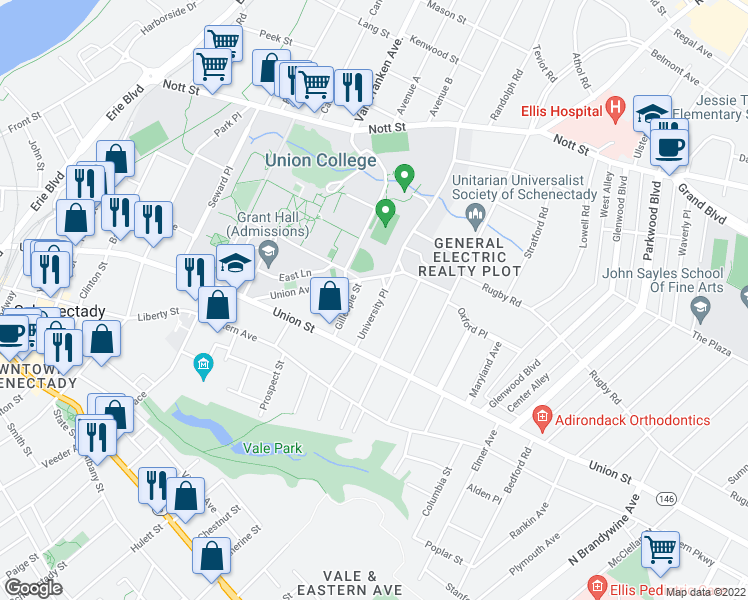 map of restaurants, bars, coffee shops, grocery stores, and more near 1061 University Place in Schenectady