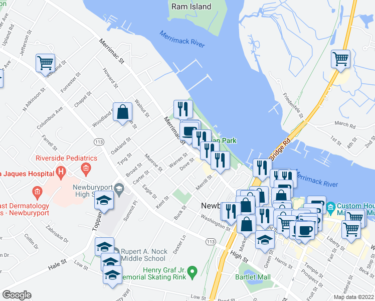 map of restaurants, bars, coffee shops, grocery stores, and more near 205 Merrimac Street in Newburyport