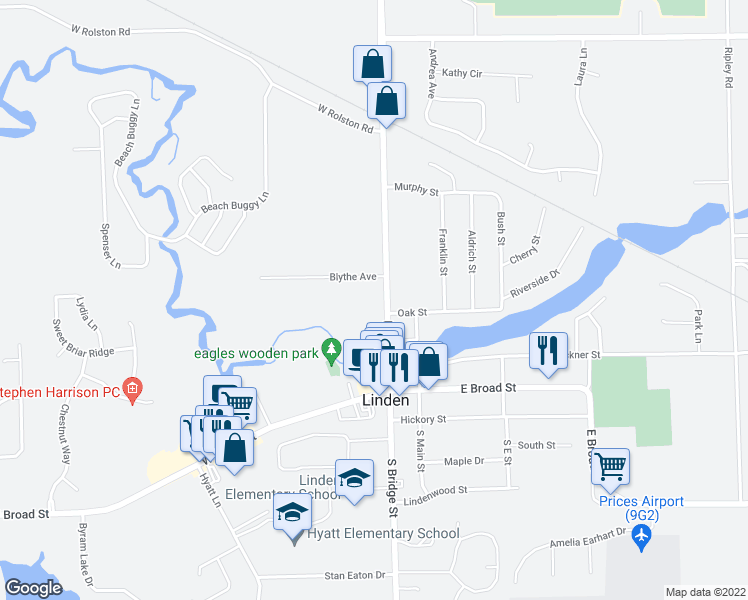 map of restaurants, bars, coffee shops, grocery stores, and more near 407 North Bridge Street in Linden