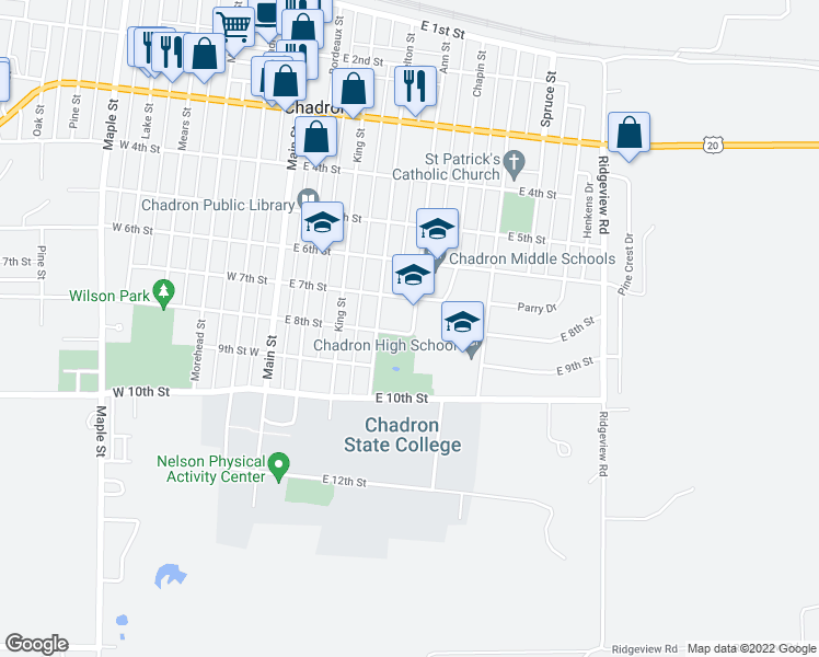 map of restaurants, bars, coffee shops, grocery stores, and more near 700-798 Ann Street in Chadron