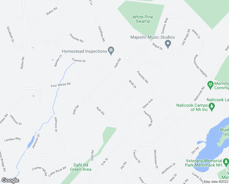 map of restaurants, bars, coffee shops, grocery stores, and more near 26 Brek Dr in Merrimack