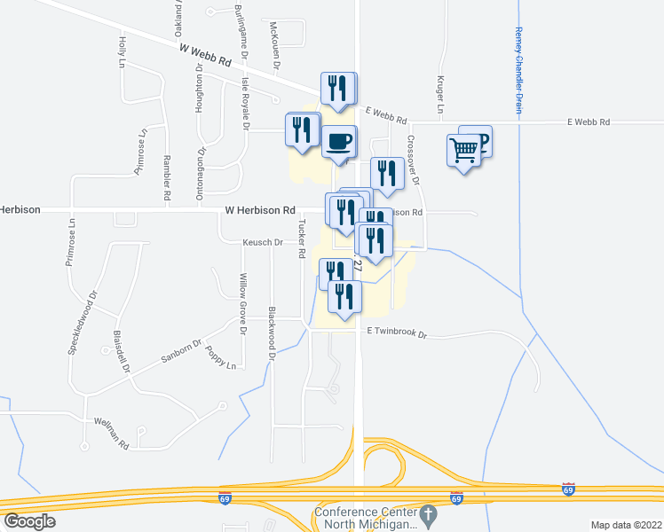 map of restaurants, bars, coffee shops, grocery stores, and more near 13200 Old U.S. 27 in DeWitt