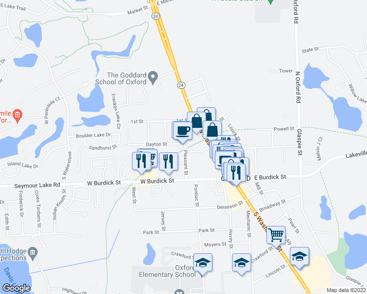 map of restaurants, bars, coffee shops, grocery stores, and more near 33 Pleasant Street in Oxford Charter Township