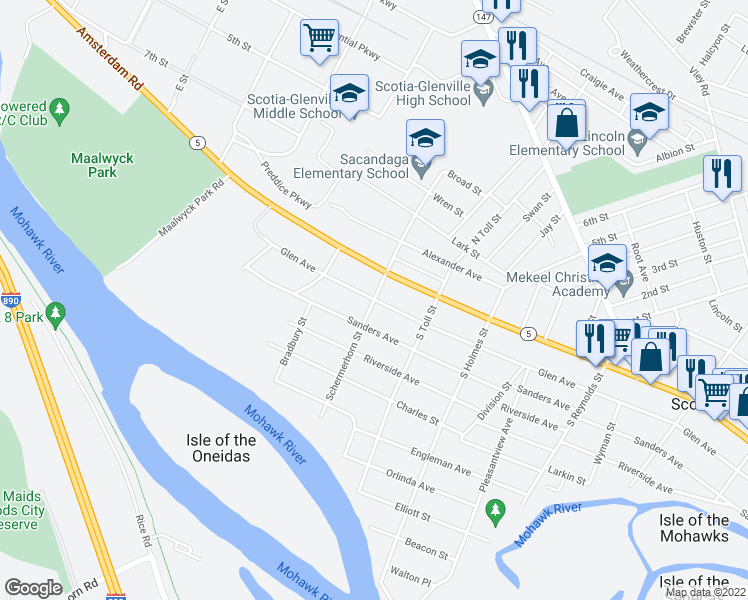map of restaurants, bars, coffee shops, grocery stores, and more near 100 Schermerhorn Street in Schenectady
