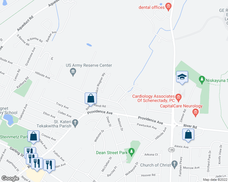 map of restaurants, bars, coffee shops, grocery stores, and more near 14 Connor Court in Schenectady County