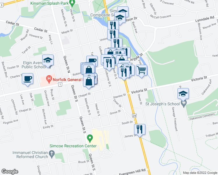 map of restaurants, bars, coffee shops, grocery stores, and more near 130 Colborne Street South in Simcoe