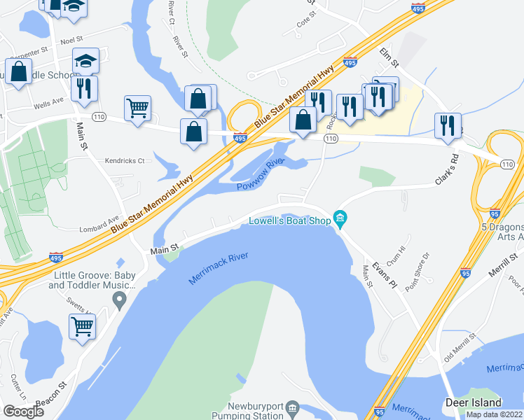 map of restaurants, bars, coffee shops, grocery stores, and more near 406 Main Street in Amesbury