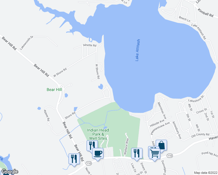 map of restaurants, bars, coffee shops, grocery stores, and more near 10 West Shore Road in Merrimac