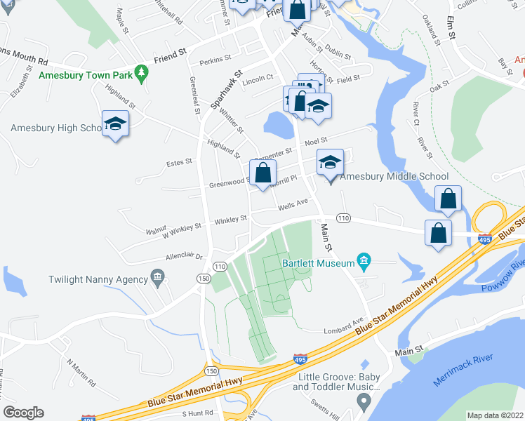 map of restaurants, bars, coffee shops, grocery stores, and more near 108 Highland Street in Amesbury