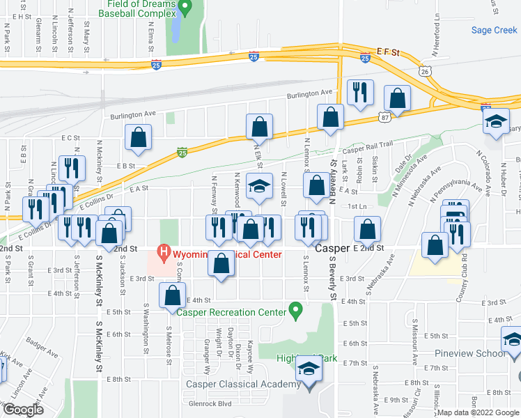 map of restaurants, bars, coffee shops, grocery stores, and more near 129 North Elk Street in Casper