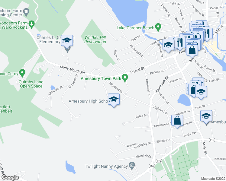 map of restaurants, bars, coffee shops, grocery stores, and more near in Amesbury
