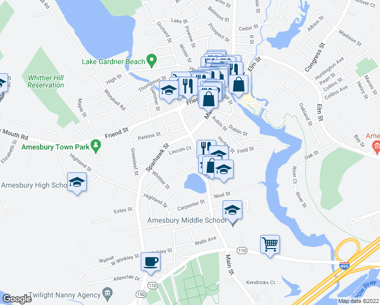 map of restaurants, bars, coffee shops, grocery stores, and more near 1 Osgood Place in Amesbury