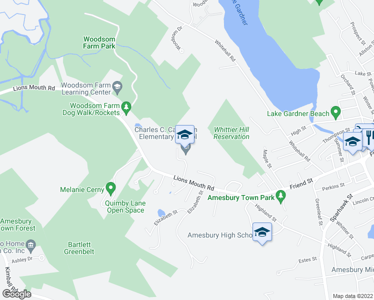 map of restaurants, bars, coffee shops, grocery stores, and more near 193 Lions Mouth Road in Amesbury