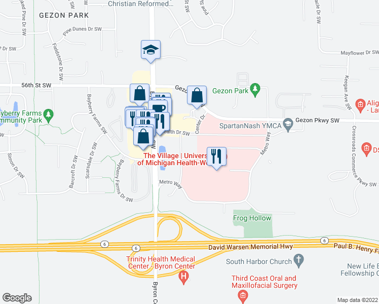 map of restaurants, bars, coffee shops, grocery stores, and more near 5812 Village Drive Southwest in Wyoming