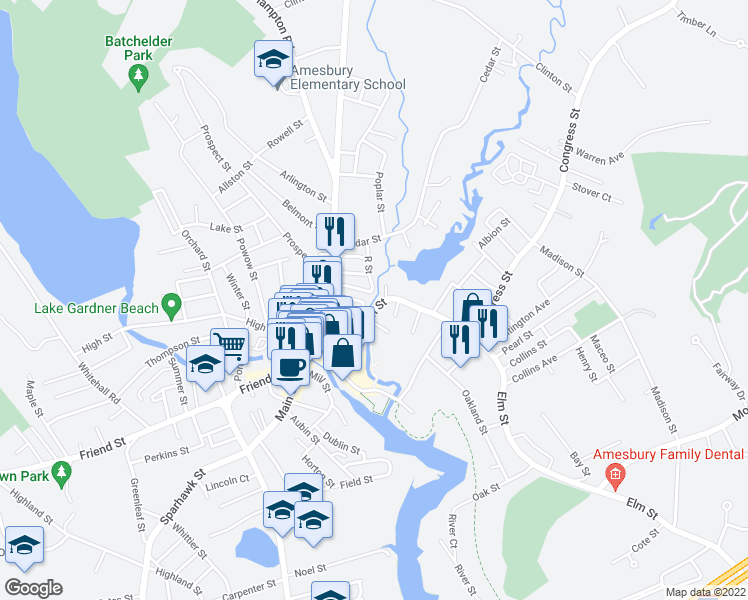 map of restaurants, bars, coffee shops, grocery stores, and more near 81 Elm Street in Amesbury