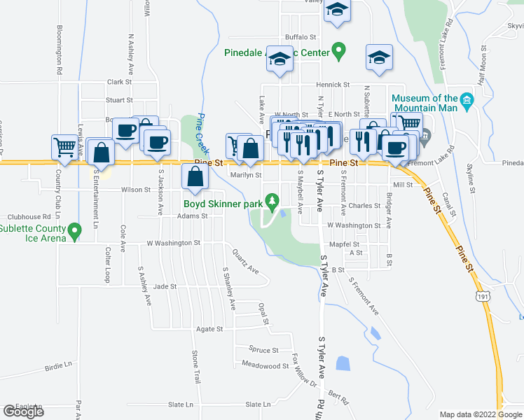 map of restaurants, bars, coffee shops, grocery stores, and more near Park Loop in Pinedale