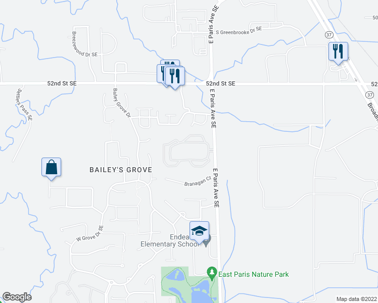 map of restaurants, bars, coffee shops, grocery stores, and more near 5425 East Paris Avenue Southeast in Grand Rapids