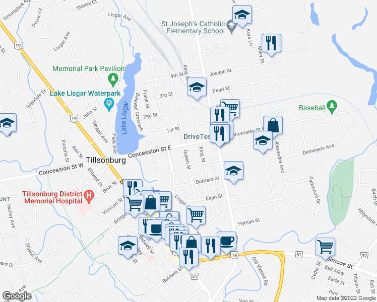 map of restaurants, bars, coffee shops, grocery stores, and more near 70 Queen Street in Tillsonburg