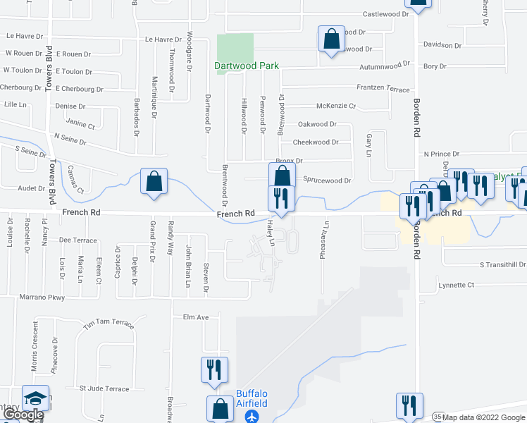 map of restaurants, bars, coffee shops, grocery stores, and more near 42 Haley Lane in Cheektowaga