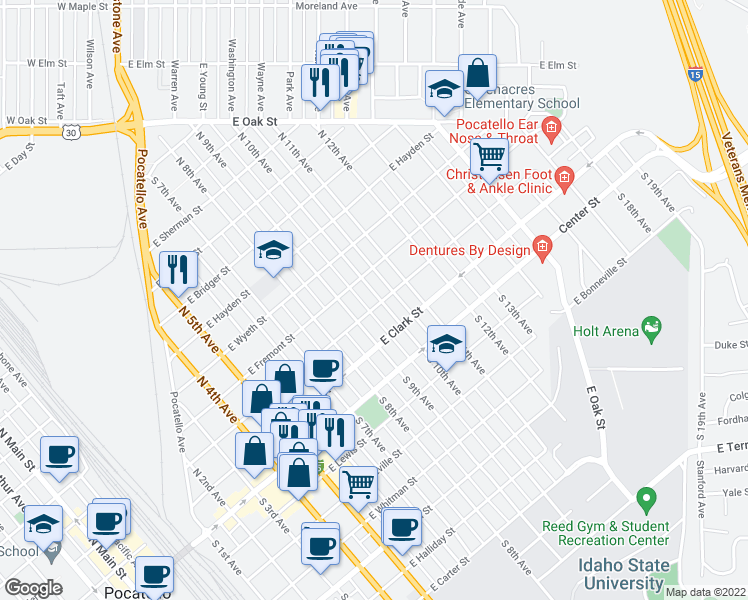 map of restaurants, bars, coffee shops, grocery stores, and more near 310 North 10th Avenue in Pocatello