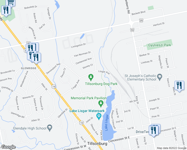 map of restaurants, bars, coffee shops, grocery stores, and more near 187 Lisgar Avenue in Tillsonburg