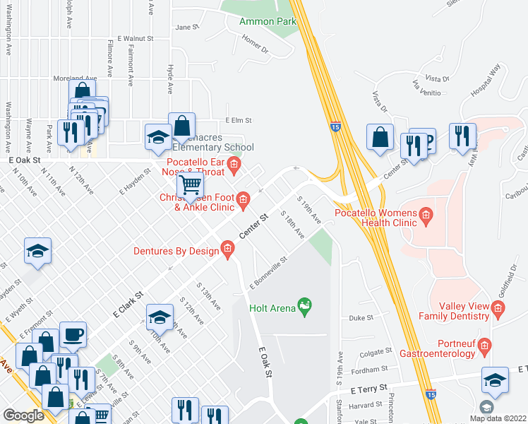 map of restaurants, bars, coffee shops, grocery stores, and more near 1824 East Center Street in Pocatello