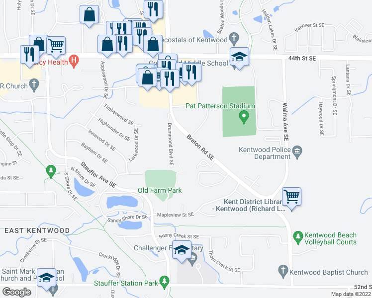 map of restaurants, bars, coffee shops, grocery stores, and more near 4705 North Breton Court Southeast in Kentwood