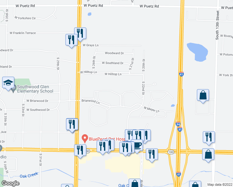 map of restaurants, bars, coffee shops, grocery stores, and more near 2377-2497 West Briar Lake Way in Oak Creek
