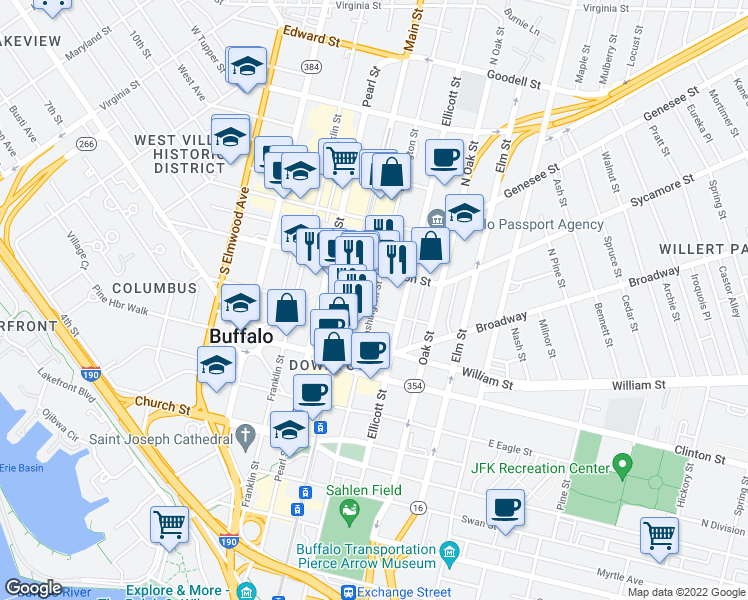 map of restaurants, bars, coffee shops, grocery stores, and more near 504 Washington Street in Buffalo