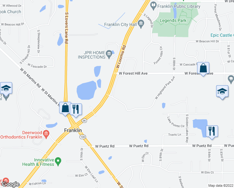 map of restaurants, bars, coffee shops, grocery stores, and more near 9535 West Loomis Road in Franklin