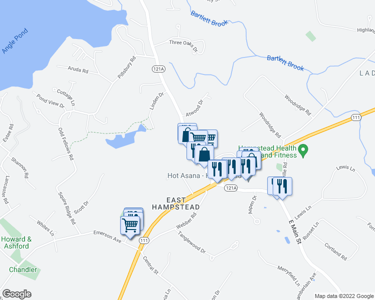 map of restaurants, bars, coffee shops, grocery stores, and more near 320 Sandown Road in Hampstead