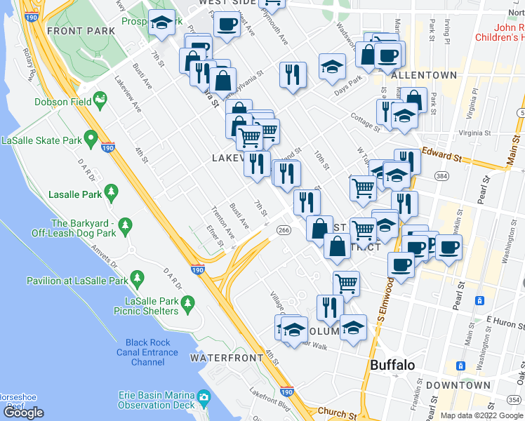 map of restaurants, bars, coffee shops, grocery stores, and more near 7th Street in Buffalo