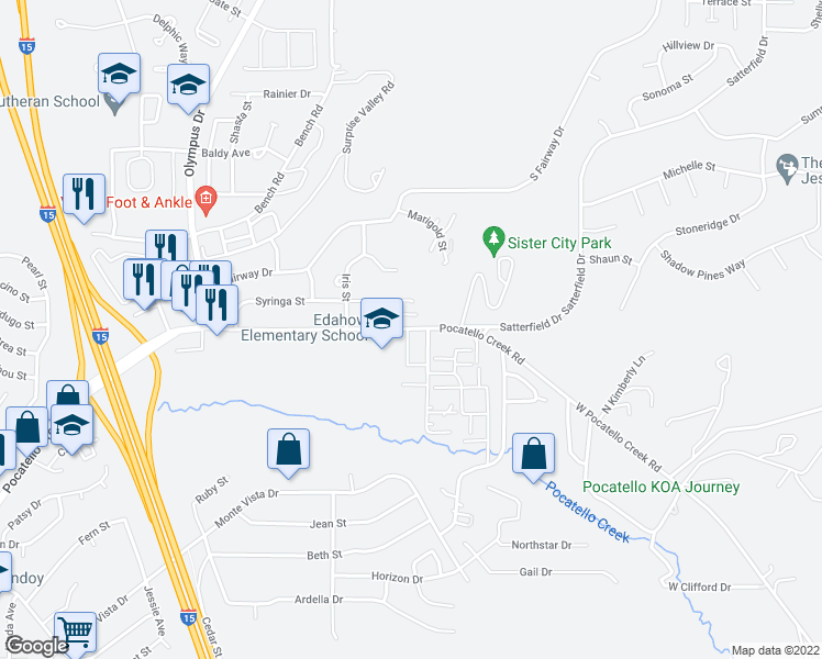 map of restaurants, bars, coffee shops, grocery stores, and more near 16 Freeman Lane in Pocatello