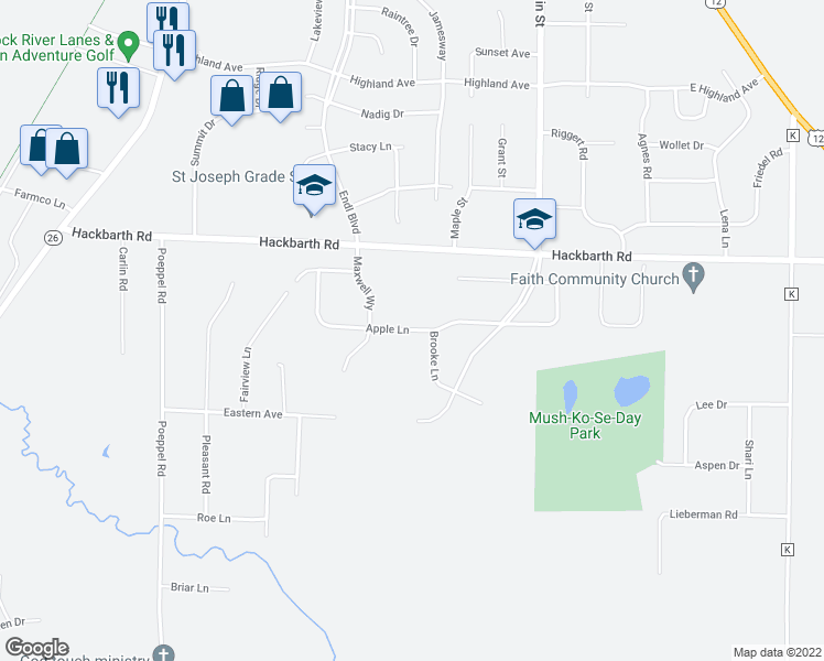map of restaurants, bars, coffee shops, grocery stores, and more near 5947 Apple Lane in Fort Atkinson