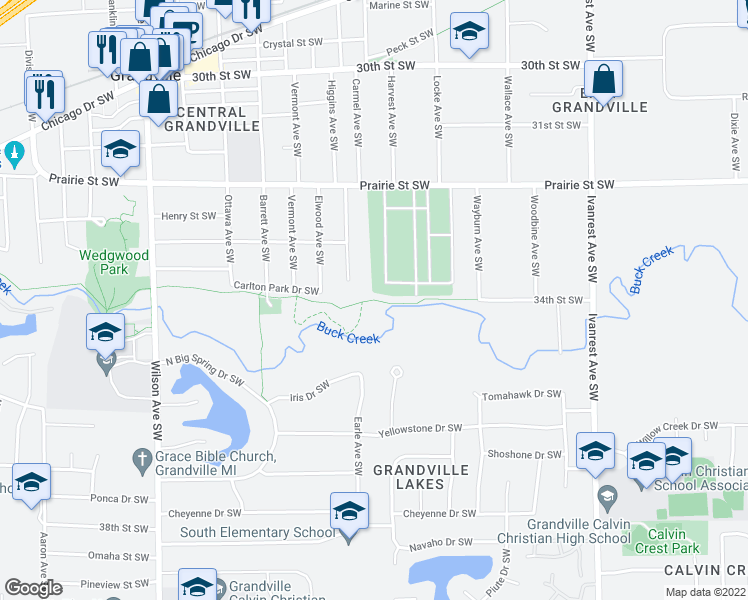 map of restaurants, bars, coffee shops, grocery stores, and more near Buck Creek Trail in Grandville