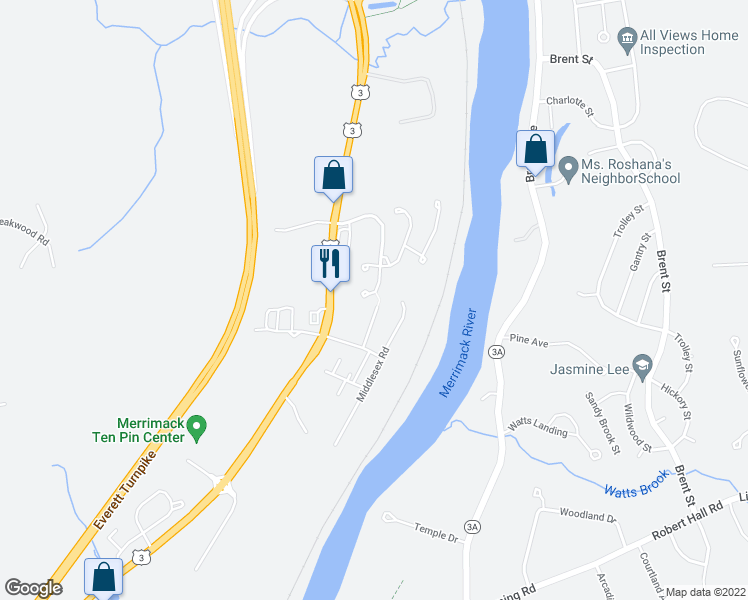map of restaurants, bars, coffee shops, grocery stores, and more near 26 Crosswoods Path Boulevard in Merrimack