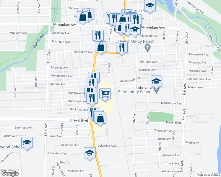 map of restaurants, bars, coffee shops, grocery stores, and more near Marion Avenue in South Milwaukee