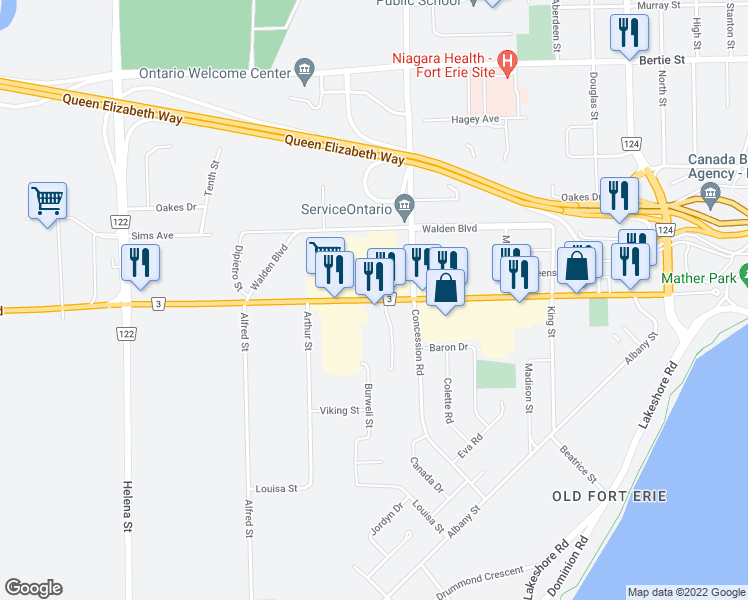 map of restaurants, bars, coffee shops, grocery stores, and more near 373 Garrison Road in Fort Erie
