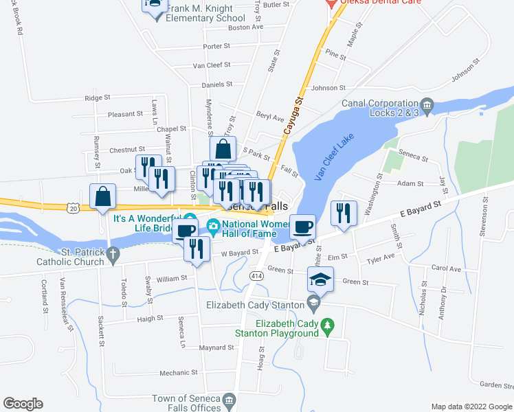 map of restaurants, bars, coffee shops, grocery stores, and more near in Seneca Falls
