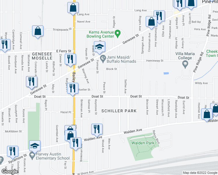 map of restaurants, bars, coffee shops, grocery stores, and more near 32 Theodore Street in Buffalo
