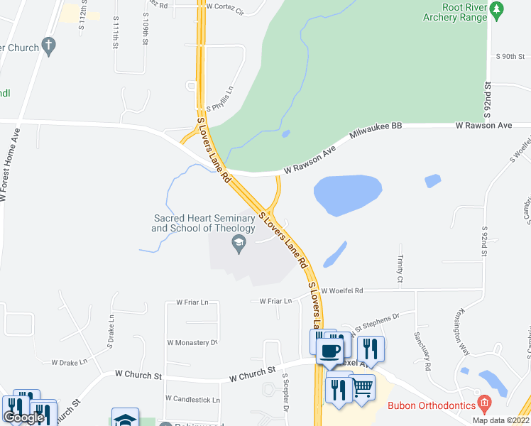 map of restaurants, bars, coffee shops, grocery stores, and more near 7350 South Lovers Lane Road in Franklin