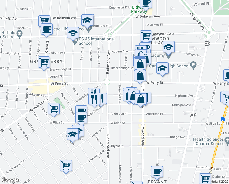 map of restaurants, bars, coffee shops, grocery stores, and more near 303 Highland Ave in Buffalo