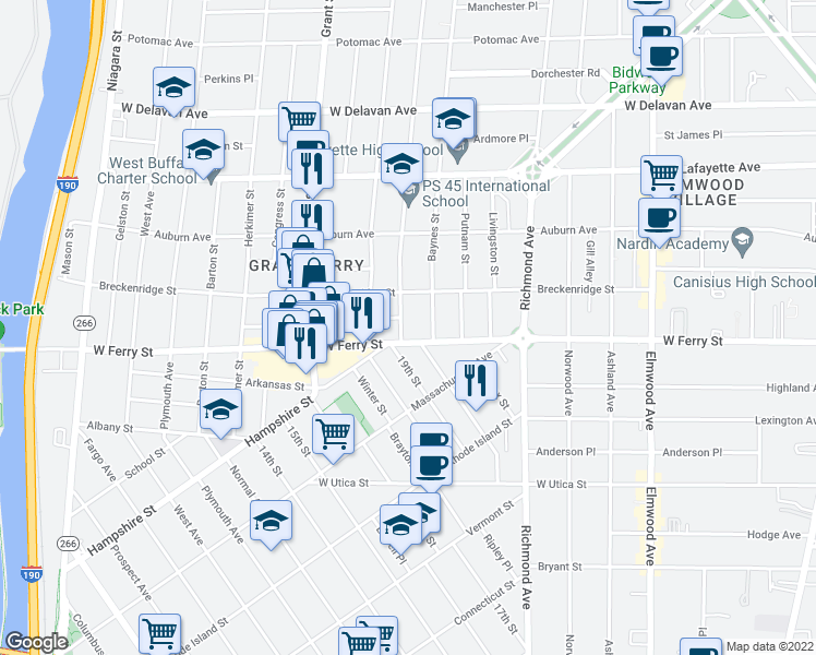 map of restaurants, bars, coffee shops, grocery stores, and more near 11 Hoyt Street in Buffalo