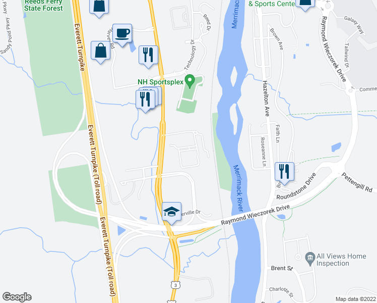 map of restaurants, bars, coffee shops, grocery stores, and more near 15 Iron Horse Drive in Bedford