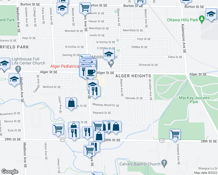map of restaurants, bars, coffee shops, grocery stores, and more near Aleda Avenue Southeast in Grand Rapids