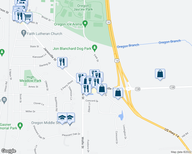 map of restaurants, bars, coffee shops, grocery stores, and more near 958 Park Street in Oregon