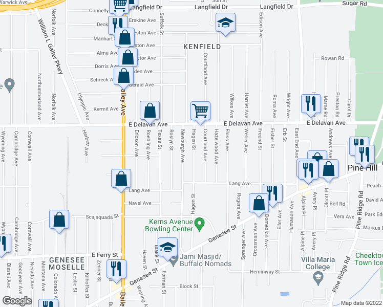 map of restaurants, bars, coffee shops, grocery stores, and more near 214 Hagen Street in Buffalo