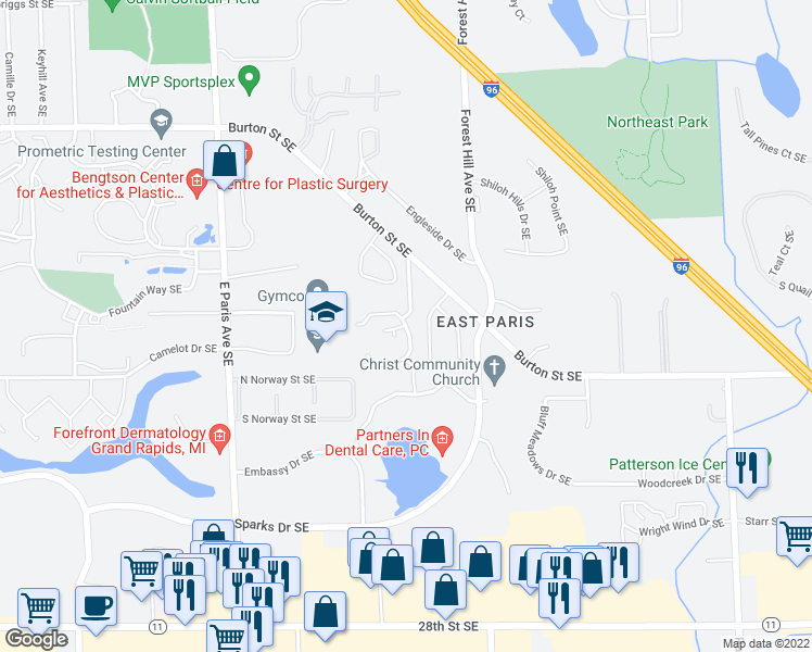 map of restaurants, bars, coffee shops, grocery stores, and more near 2353 Oak Forest Lane Southeast in Grand Rapids