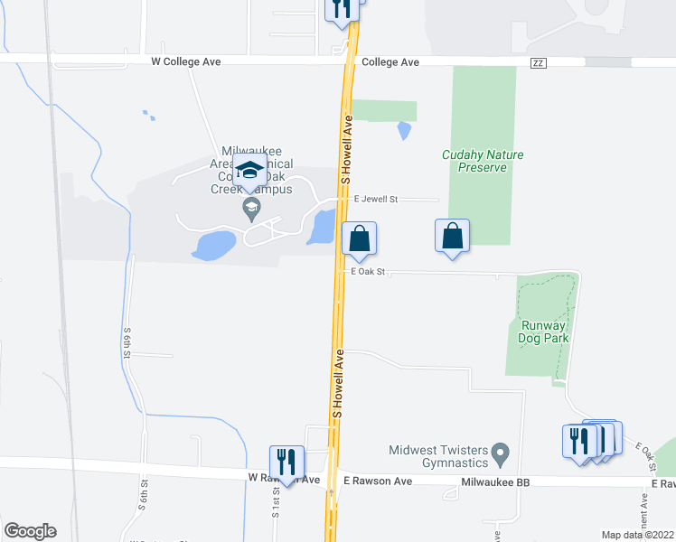 map of restaurants, bars, coffee shops, grocery stores, and more near 6700 South Howell Avenue in Oak Creek
