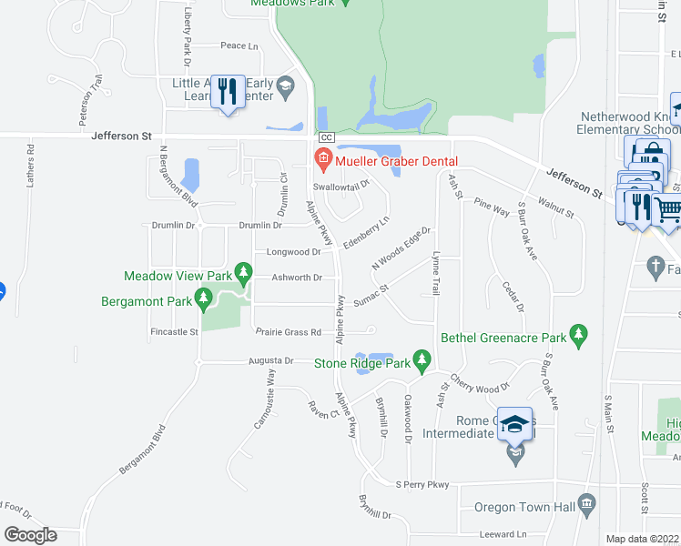 map of restaurants, bars, coffee shops, grocery stores, and more near Alpine Parkway in Oregon
